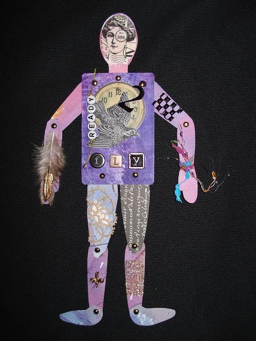 Heather Crossley - READY 2 FLY - Paper Art ATC Doll