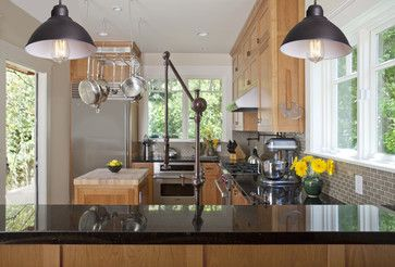 While the rest of the house is done in a simple style that reflects its Craftsman roots, the kitchen faucet definitely nods to the steampunk aesthetic.