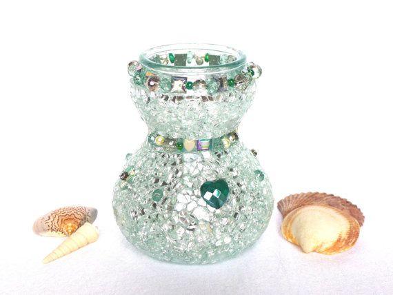 funkelnde Vase silber smaragdgrün mit Mosaik Glas Herz von LonasART