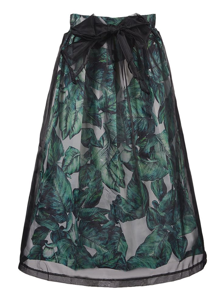 So Pretty! LOVE this Skirt! Emerald Green and Black Organza Overlay Leaf Midi Skirt Holiday Fashion | Choies #Emerald #Emerald_Green #Black #Organza #Leaf #Print #Holiday #Winter #Party #Fashion