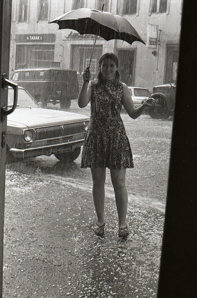Anonymous. Girl in the rain. USSR. Early 1980s