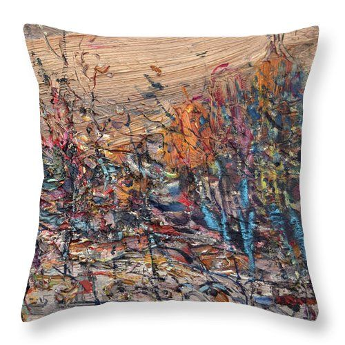 Landscape Throw Pillow featuring the painting Forest by Nikolay Malafeev
