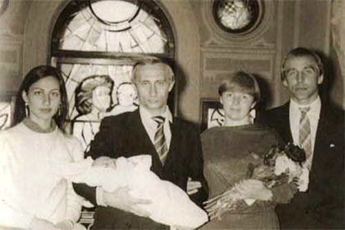 Christening of Valdimir Putin's daughter Masha. Sergey Roldugin (far right) was the godfather.
