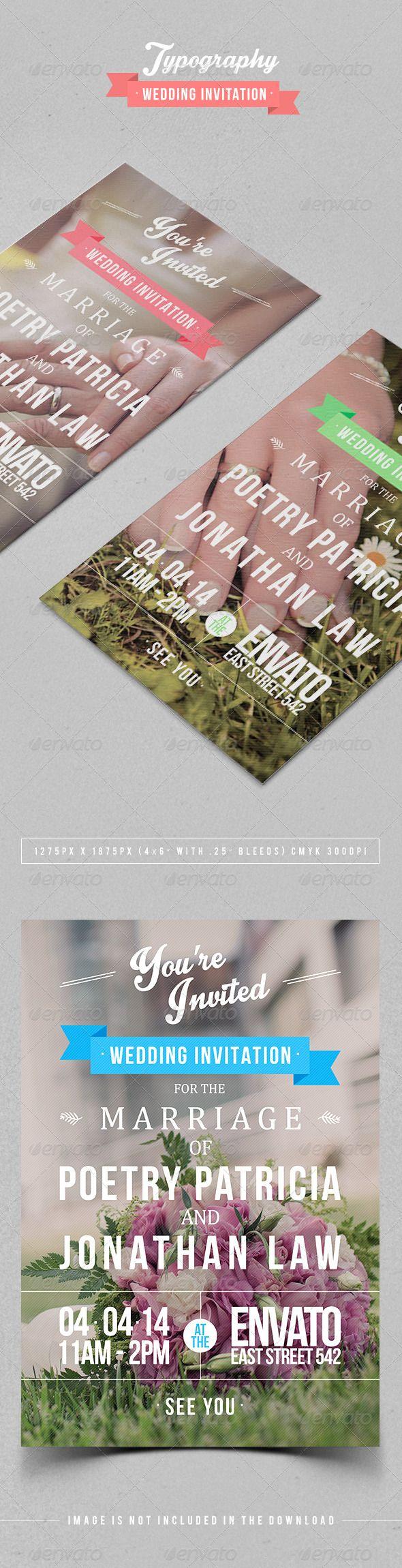 wedding invitation design psd%0A Typography Wedding Invitation