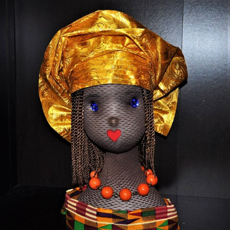 CUSTOM ORDER for Vivian- Pret-a-porter - Pre-made African Baby Girl Gele - Head tie - Yellow/Gold by MonBoChapoHat on Etsy