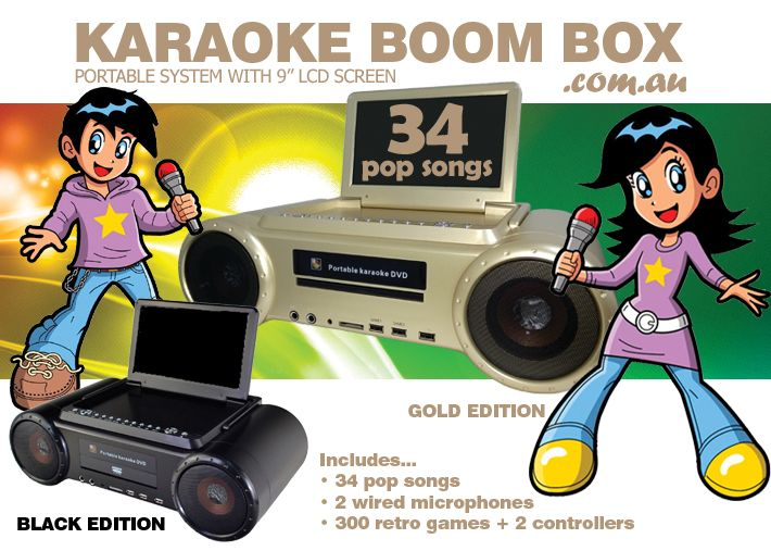 "The Karaoke Boom Box your all in one portable solution with 9"" LCD screen and rechargeable battery. Plays CD+G, DVD, VCD and Digital Downloads in MP3+G."