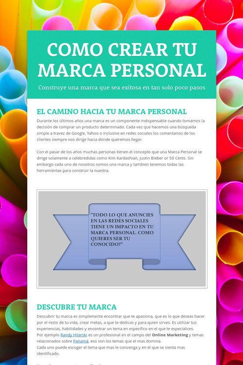 COMO CREAR TU MARCA PERSONAL #Marketing #Socialmedia