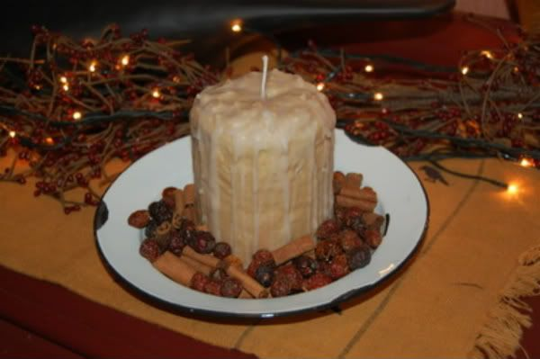 Scented Primitive Grubby Pillar Cake Candle...