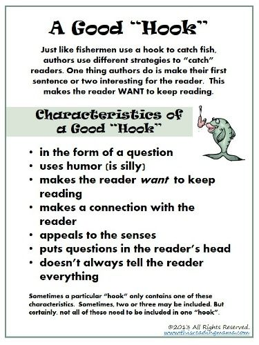 writing hooks examples The narrative hook - also known as a literary hook - is the literary device whereby you hook the reader's attention and intrigue her enough so they'll keep reading.