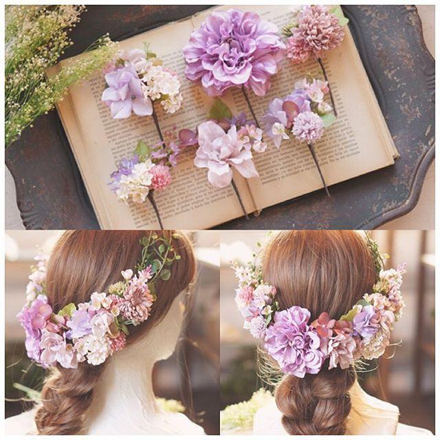 【オーダーメイド】 パープル、ラベンダー、ピンクのグラデーションが綺麗なヘッドドレスをおつくりしました ポイントで取り入れたグリーンや小花がナチュラルな雰囲気* . #ウェディング#wedding#blidal#ブライダル#結婚式#結婚式準備#プレ花嫁#ヘアアレンジ#ヘッドドレス#ヘアアクセサリー#成人式 #flowercrown#hairaccessories#flower