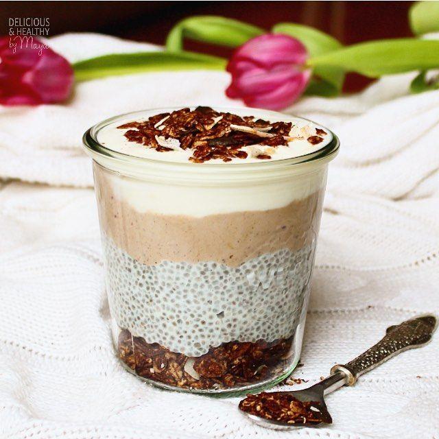 Chocolate Chia Pudding with homemade chocolate granola