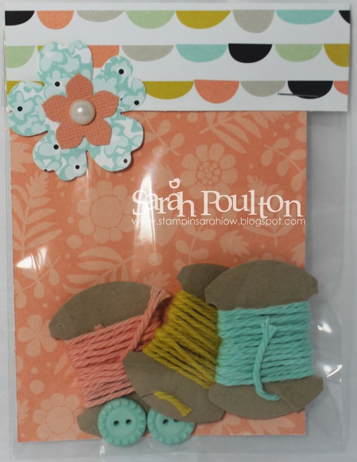Stampin' Sarah! Stampin' Up! Door Prize sampler filled with twine samples, buttons & DSP. Perfect for showcasing new product or using up retired bits and bobs. Also great little hostess gifts too.