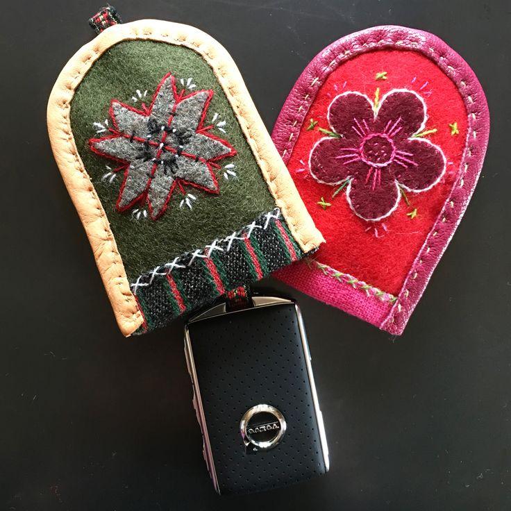 Embroideried Key cases @hannasinslag #broderi #embriodery #craft #volvo