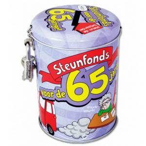 Deze knallende spaarpot zit vol humor en originaliteit! De Spaarpotten zijn leuk om te vullen met geld, <br>maar ook met snoep! Tekst: Steunfonds voor de 65 jarige! Hoogte: 10.5 x 7.5cm. foto 1
