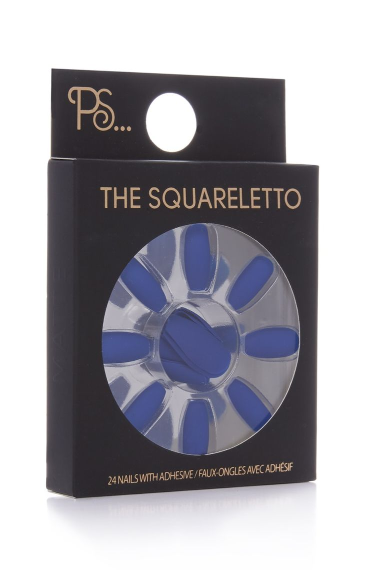 PS Blue Squareletto Faux Nails