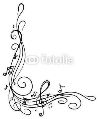 Carta da parati Note, chiavi, note musicali, musica, cornice