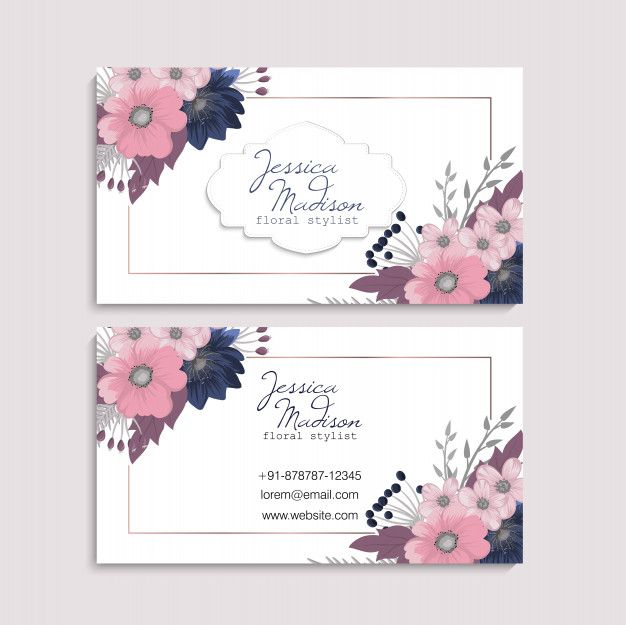 Business Card With Beautiful Flowers Template Name Card Design Cards Beautiful Flowers