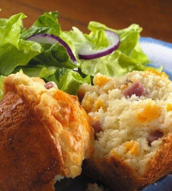 Λαχταριστά και αφράτα muffins με ζαμπόν και τυρί