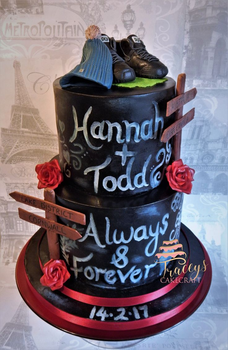 Chalk Board Wedding Cake Hiking theme