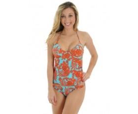 2 Piece Halter Tankini Juniors Swimsuit in Turq and Orange with Underwire Cups Sizes: Medium