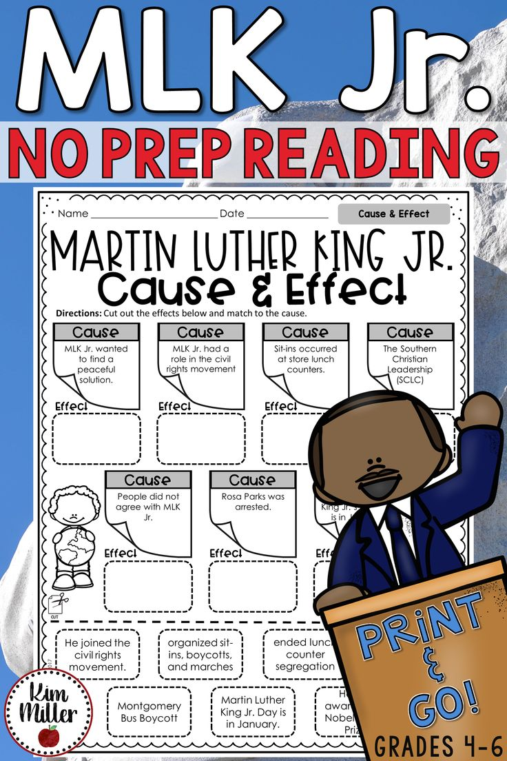 Martin Luther King Jr. NO PREP Reading activities for the classroom. Cause and Effect