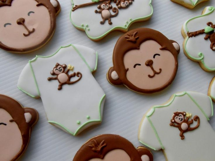 Monkey Baby Shower Cookies by Blue-eyed Bakery