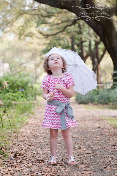 Girls Pink and White Chevron Peasant Dress with by StitchToStitch, $40.00
