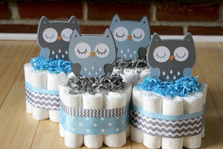 SET OF 4 Blue and Gray Owl Mini Diaper Cakes, Boy Owl Baby Shower, Baby Blue Gray Chevron , Grey Owl Centerpiece, Decor, Light Blue Owl Cake by BabeeCakesBoutique on Etsy https://www.etsy.com/listing/238343589/set-of-4-blue-and-gray-owl-mini-diaper