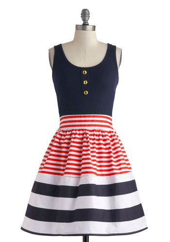 Schooner Said Than Done Dress - Nautical, Mid-length, Blue, Red, White, Stripes, Buttons, Party, Fit & Flare, Tank top (2 thick straps), Scoop, SummerNautical Style, Nautical Stripes, Clothing, Fourth Of July, Parties Dresses, Birthday Outfit, Tanks Tops, Retro Vintage Dresses, 4Th Of July