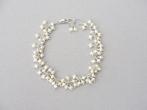 Pearl Bridal Bracelet in Sterling Silver, Wedding Jewelry by BlueRoomGems, $92.00 #weddingstyle #bridal #bracelet #pearls #jewelry
