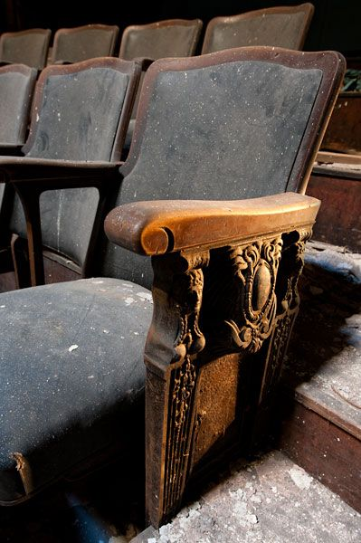 Beautiful carvings remain undamaged in the abandoned Sattler Theatre balcony.