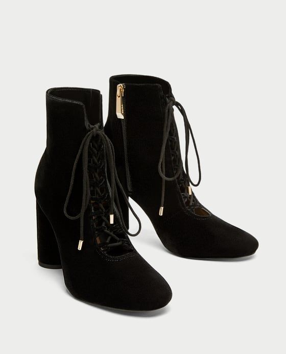 fc3eab07415 Image 3 of LACE-UP VELVET HIGH HEEL ANKLE BOOTS from Zara
