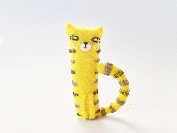 Felt Cat Miniature Felted Animals Yellow Pocket Cat, Felt Lucky Cat