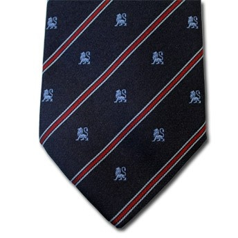 Leo - Blue pure silk tie with zodiac sign and contrasting stipe, easy to match
