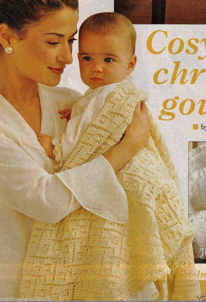 VINTAGE CHRISTENING FINE LACED BABY SHAWL SIZE 92X106 CMS 4 PLY KNITTING PATTERN