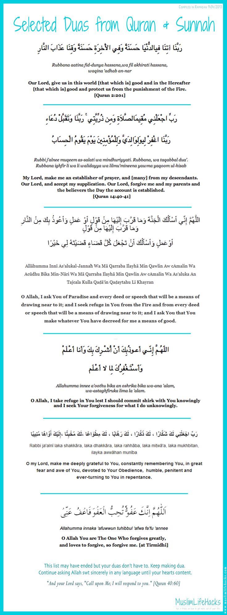 Selected dua's from Quran + Sunnah
