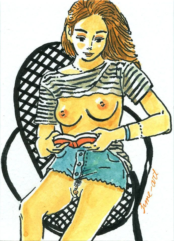 ACEO A girl / Original Art Painting / Female nude / pin up #IllustrationArt#aceo#girl#nude#pinup