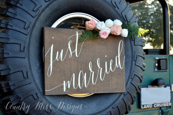 Wedding Car Sign Just Married Sign Wedding von countryblissdesigns