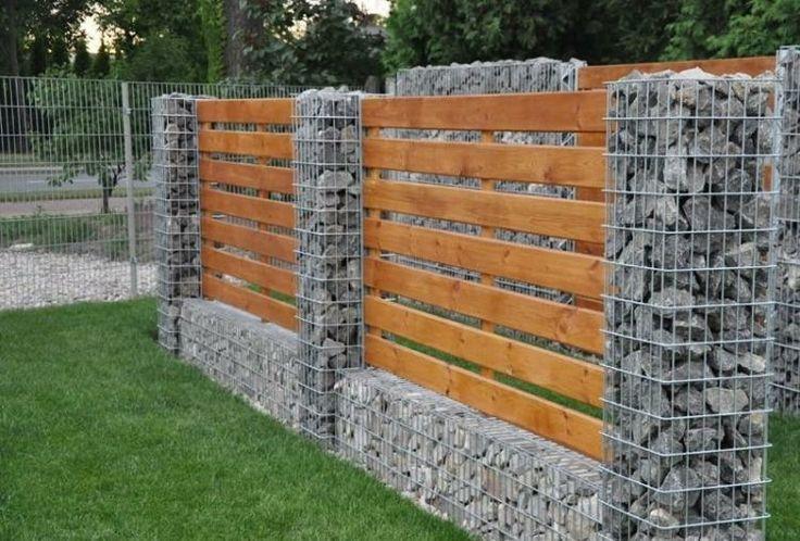 valla madera piedras gavion deco