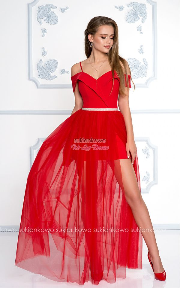 Sukienkowo Com Chantal Dluga Tiulowa Sukienka Z Rozcieciem Na Nodze I Szalowym Kolnierzem Czerwona Long Dress Dresses Formal Dresses
