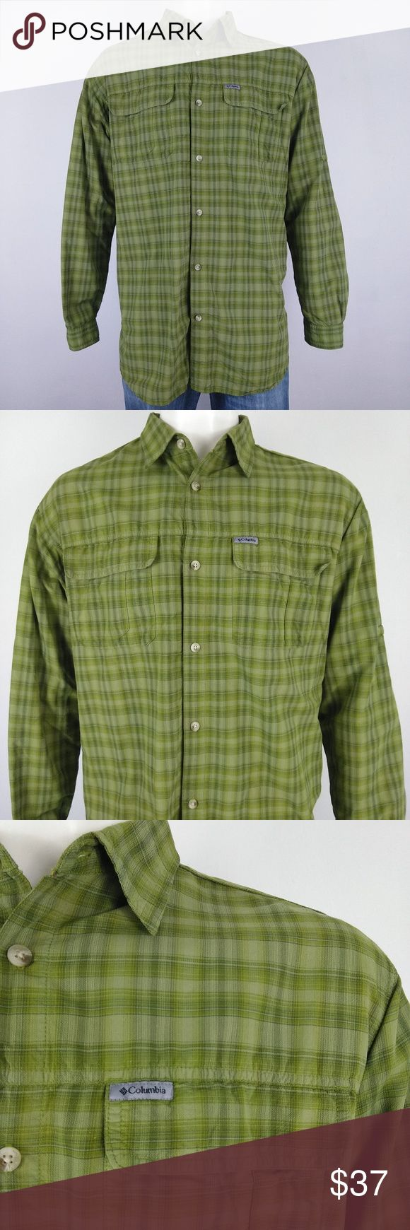 Columbia NWOT green outdoor, vented men's shirt Beautiful new without tags, never worn, plaid green long sleeve outdoor hiking shirt, with vented mesh to keep you cool. Size XLT and made of 100% Nylon.   Underarm to Underarm 25.5 in. (flat) Shoulder to Shoulder 20 in. (flat) Sleeve 26.5 in.  Length 36 in. Columbia Shirts Casual Button Down Shirts