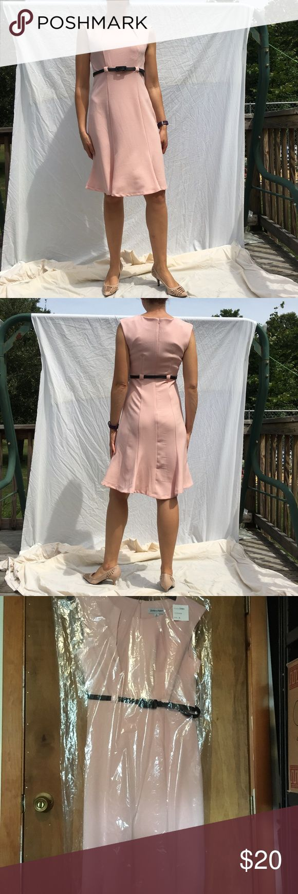 """NWT blush dress w/ belt, size 6 This Blush dress has cap sleeves & a beautiful pleat accent at the neckline the quality of the materials and construction will not disappoint!! The approximate measurements are 14""""@waist, 16""""@bust, 39 1/2 top to bottom. This is a timeless dress that would be great for the office or a special event! I bought this dress (& many others I have for sale) within the last 6 months & would love to see someone else be able to enjoy them!! Shelby & Palmer Dresses Midi"""