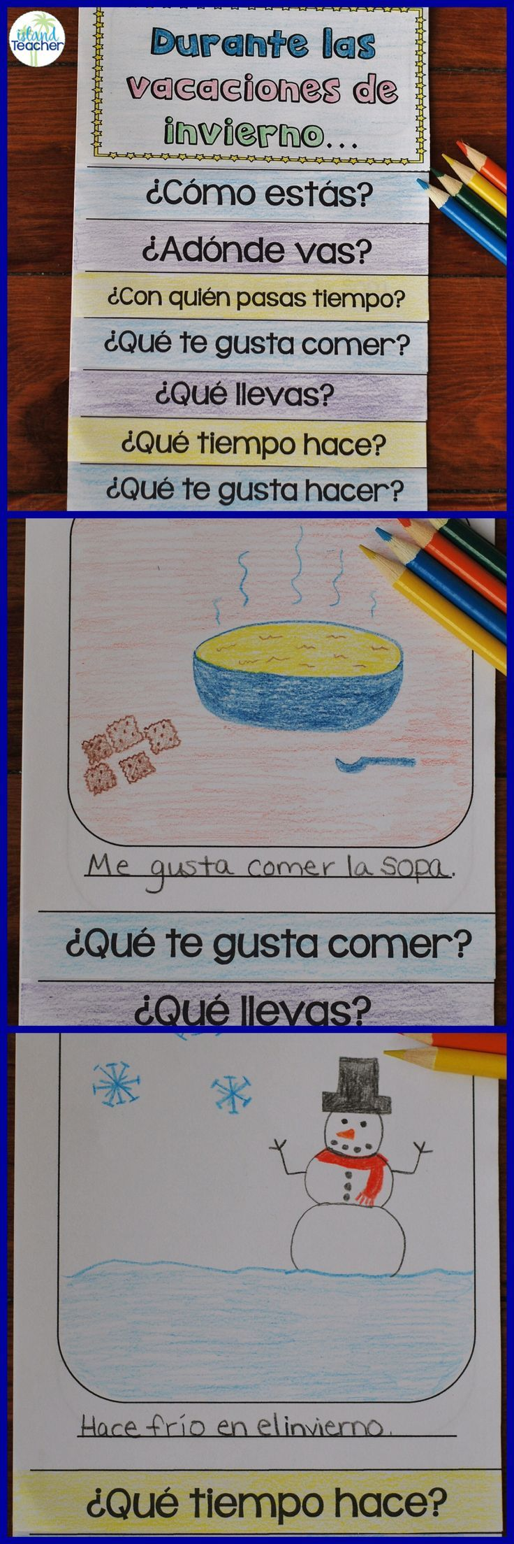 Spanish Winter Vacation Questions Flip Book. Students answer questions and add a drawing to talk about their winter vacation.