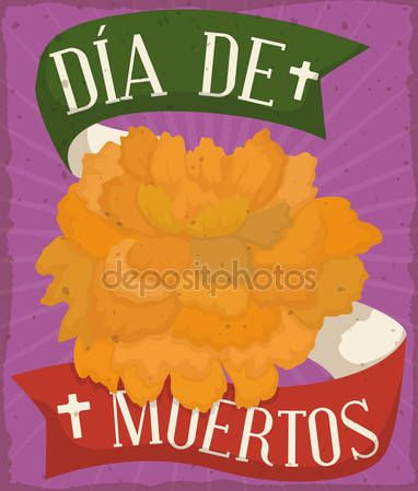 """Poster with Cempasuchil Flower Offering for Mexican """"Dia de Muertos"""""""