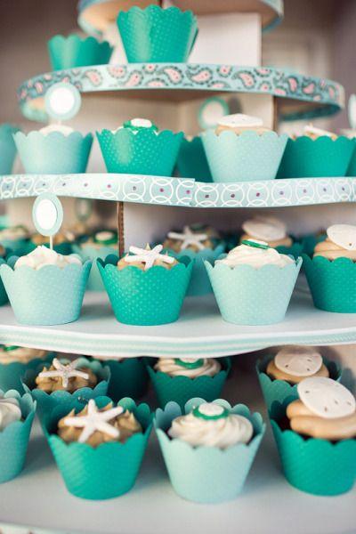 beach themed cupcakes www.MadamPaloozaEmporium.com www.facebook.com/MadamPalooza