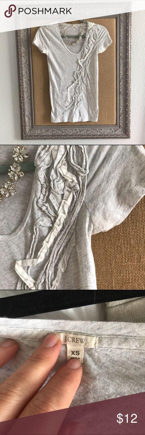 💐 J Crew Heathered Gray Ribbon Detail Tee XS Adorable tee shirt, perfect to wear casually with jeans or dress up for work. Ribbon detail down front, great neutral color and so soft! Bundle to save 20% 💕 J. Crew Tops Tees - Short Sleeve