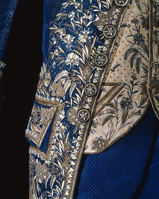 Court suit detail of Frockcoat, Waistcoat and breeches, late 18th–early 19th century, French, silk, metallic thread, paste (c) Metropolitan Museum of Art