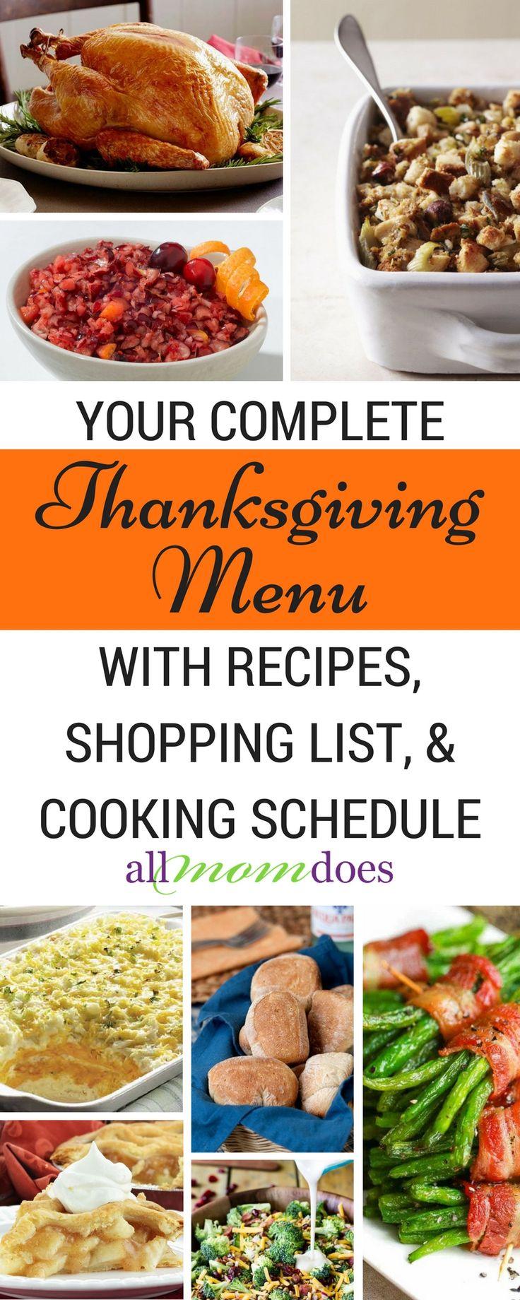 Complete Thanksgiving menu - recipes, shopping list, and cooking schedule. #thanksgivingmenu #thanksgivingschedule #thanksgivingrecipes