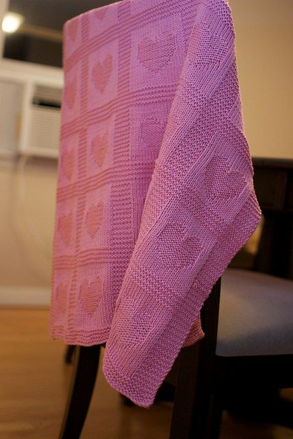 Free knitting pattern for Heart Baby Blanket