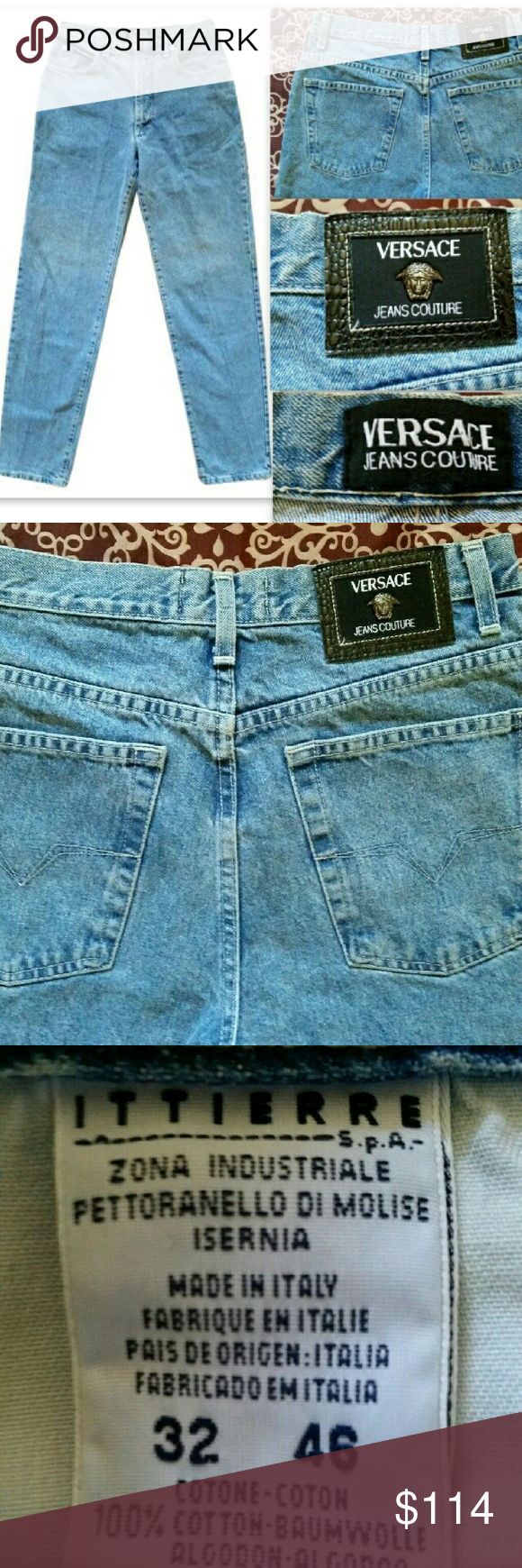 """Versace Jeans Couture Auth Jeans Medusa Logo 32 100% Authentic Versace Jeans Couture jeans!   Near mint condition with very minor wear!? One tiny nick in fabric on back of pant leg, quite difficult to see. Fantastic designer denim in a light wash straight leg with a classic rise. Signature Versace Medusa logo rivets, buttons, and back patch. 100% cotton, quality stitching.   Made in Italy. Men's size 32 on tag. Measurements are as follows: Inseam: 33"""" Natural waist: 32"""" Top of Waist: 29""""…"""